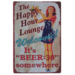 Wholesale happy hour signs - The happy hour lounge it's beer somewhere Retro rustic tin metal sign Wall Decor Vintage Tin Poster Cafe Shop Bar home decor
