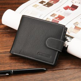 Wholesale Soft Photo - Mens Luxury Leather Wallets Soft Quality Credit Card Holder Purse Black Coffee Color Bifold Wallets 1pcs A089