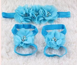 Wholesale Baby Barefoot Sandals Headband - 2016 New baby barefoot flower with pearl feet hair flower shoes sandals baby flowers foothold hair accessories headbands hairbands set