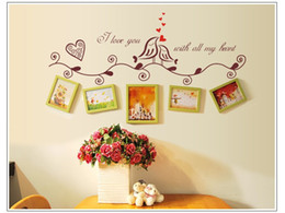 Wholesale Browning Heart Decal - 1pcs Black  Brown Photo Frame Loving Bird Love You Heart Decal Vinyl Wall Stickers PVC Decor Decoration DIY Home Living room ^