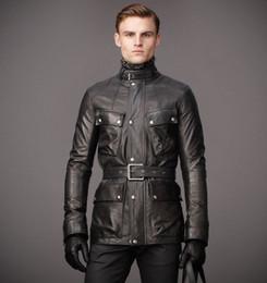 Giacche uomo superiore online-Ultimi giacche di pelle da uomo giacche di pelle da uomo con la parte superiore della coscia con una cintura per regolare la forma del corpo giacche invernali calde prima scelta