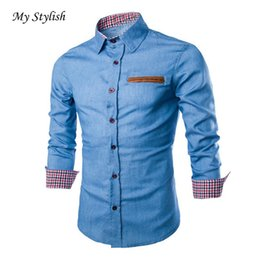 Wholesale New Stylish High Tops - Wholesale- Luxury Mens Casual Stylish Slim Fit Long Sleeve Casual Formal Dress Shirts Tops Male High Quality Hot Sale 2017 Brand New Jan 5