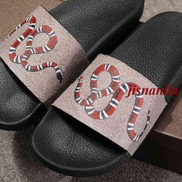 Wholesale Black Cat Slippers - free shipping 2017 mens and womens fashion snake angry cat tiger printing leather slides sandals slippers outdoor beach flip flops