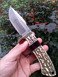 Wholesale hunt horn - classic browning knife Antlers wood handle damascus steel knife blade hunting knife Antlers horn handle handmade damascus forged steel