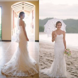 Wholesale Wedding Dresses Soft Elegant - 2016 Elegant Beach Wedding Dress Mermaid Style Soft Sweetheart Neckline Sleeveless Vintage Lace Appliques Bridal Gowns with Sweep Train