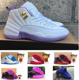 Wholesale Dynamic Black - 2016 air retro 12 women basketball shoes wool ovo white Dark Purple Dust GS Valentines Day Dynamic white Pink GS Barons taxi sneakers