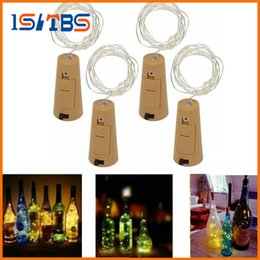 Wholesale Christmas Tree Lights Led Battery - 2017 Hot 2M 20LED Lamp Cork Shaped Bottle Stopper Light Glass Wine LED Copper Wire String Lights For Xmas Party Wedding
