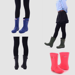 Wholesale Pvc Wellies - High Quality Women Short Mid-calf Rainboot Low Heels Waterproof Welly Rain Boots Rubber Water Classic Shoes