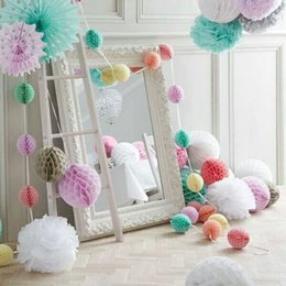 Wholesale Mini Tissue Paper - 1 Pcs lot 10cm Mini Colorful White Tissue Paper Honeycomb Flowers Balls Home Room Hall Hanging Decoration Wedding Party Supplies