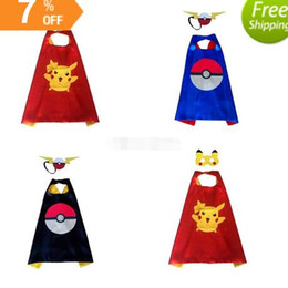 Wholesale Elf Mask - Halloween 3 styles Double layers poke Capes mask set Elf Ball pikachu cape & mask 2pcs set for Kids 70*70CM DHL
