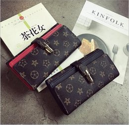 Wholesale Lock Hasp Wholesale - 2017 European and American style printing locks double - double pu wallet vintage pattern ladies hand in the bag of long money