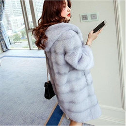 Wholesale New Hooded Fur - Women Winter Hooded Fake Fur Coats Plus Size 3XL 2017 New Vintage Artificial Black Faux Fox Fur Coat With Hood Big Size