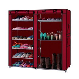 Wholesale red rack wine - Double Rows 9 Lattices Combination Style Shoe Cabinet Wine Red