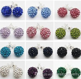 Wholesale diy ball earrings - new 30 Pairs lot 10mm Jewelry shamballa hot new Rhinestone Mix Colors white New disco Ball beads clay Shamballal Crystal Earrings Stud DIY