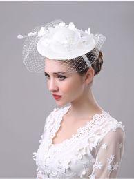 Wholesale Vintage Bridal Headdress - Wedding Bridal Hats 2017 New Vintage Handmade Gauze Lace Flower Elegant Romantic Headdress Marrige Wedding Accessories