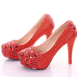 Wholesale Platforms Stages - Crystal Wedding Shoes Diamond Platform High Heels Nightclub Stage Shoes Wedding Party Bridal Shoes Graduation Prom Shoes