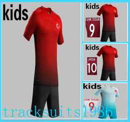 Wholesale Shorts Teen - 2016 2017 Turkey Kids Jerseys child teens Shirt HAKAN SUKUR ARDA 16 17 European Cup Wholesalers Sportswear rugby The Republic of Turkey