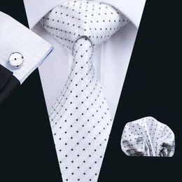 Wholesale check suits for men - Trendy Men's Suits Necktie Silk White Plaid With Black Polka Dotw Ties For Mens Business Bridegroom Neck Tie N-0240