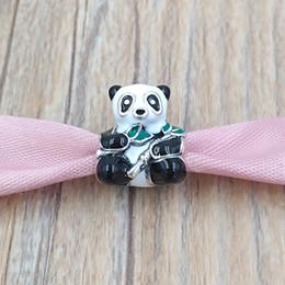 Panda charme armbänder online-Authentische 925 Sterling Silber Perlen Niedlichen Panda Charm Charms Für Europäische Pandora Style Schmuck Armbänder Halskette 796256ENMX