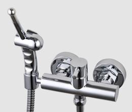 Wholesale Handheld Shattaf Bidet Sprayer - copper chrome bathroom bidet shower sprayer Cold andHot water Toilet Bidet Shattaf handheld Shower with Brass bidet faucet mixer valve BD388