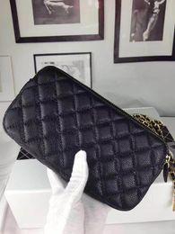 Piccola cerniera a doppia borsa online-Spedizione gratuita! Piccola borsa a tracolla bella donna pochette doppia cerniera mini 19 centimetri borse in pelle caviale borse borsa 2610