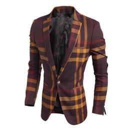 Wholesale Men S Suits Plaid - 100% Good High Quality 2016 Autumn New Fashion Plaid Slim Fit Korea Style Suit Male Casual Blazer Jacket Men Outwear Coats US size XS S M L
