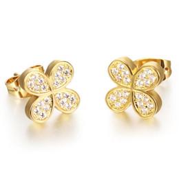 Wholesale Leaf Cuff Gold Earrings - Four Leaf Clover Woman Stud Earrings Romantic 18K Gold Plated AAA+ Cubic Zirconia Women Wedding Jewelry KE630