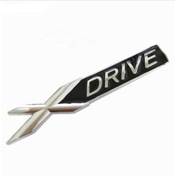 Wholesale Bmw Driving - 3D Metal Chrome Badge X DRIVE Emblem Badge Sticker Decal for BMW 3 4 5 6 7 All Series X1 X3 X5 E70 X6 E71 Car Decoration