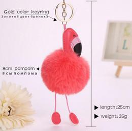 Wholesale Fake Gold Chains - Cute pompom keychain flamingo key chain fluffy fake rabbit fur ball women car bag pompon key ring pom pom holder jewellery MQO 30 pcs