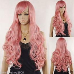 Бесплатная доставка новый высокое качество мода фото полный кружева парики новый косплей Vocaloid лука рука Магнит длинные волнистые розовый цвет парик от