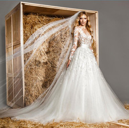 Wholesale Zuhair Murad Modest Gowns - 2016 Modest Long Sleeves Wedding Dresses Elegant Zuhair Murad Dress Sexy Sheer Lace Applique Jewel Neck A Line Illusion Tulle Bridal Gowns