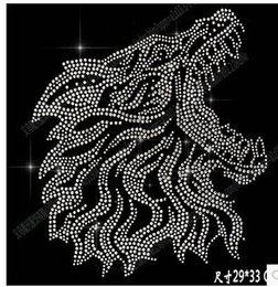 Wholesale Hot Fix Crystal Designs - Hot DIY 29*33cm wolf head bling crystal patterns clothing accessories Hot Fix Rhinestones motif Heat Transfer on Design Iron On clothes