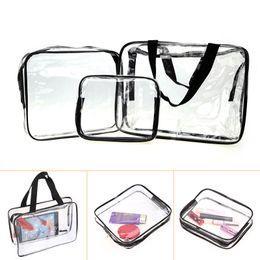 Wholesale Clear Makeup Case Organizer - 3pcs Clear Makeup Cosmetic Bags Portable Toiletry Travel Wash Storage Pouch Transparent Waterproof PVC Bag Organizer Cases