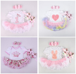 Wholesale Santa Headbands - Christmas Girls Baby Onesies Clothing Sets Cotton Short Sleeve Rompers Headbands First Walkers 3 Pcs Xmas Set Newborn Jumpsuits Santa Clothe