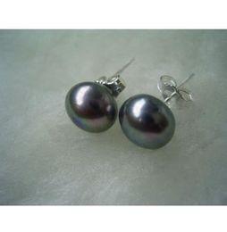 Wholesale Tahitian Mm Black Pearl - NEW HOT 10-11 mm Tahitian Black Pearl Stud Earrings 925 silver