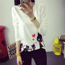 Wholesale Korean T Shirt Free Shipping - Wholesale- 2016 Korean New Harajuku Autumn Cotton T shirt Women Tops Cartoon Cat Long Sleeve T shirts Female College Student Free shipping