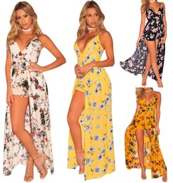 Wholesale Yellow Casual Backless Dress - Women Floral Culottes Backless Maxi Dresses V-Neck Spaghetti Strap Robe 2017 Summer New Female Long Club Romper Dress
