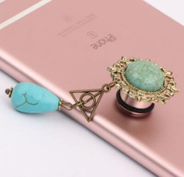 Wholesale Triangle Ear Plugs - stainless steel new arrival tunnels plugs ear plugs tassel tunnels Harry Porter the Deathly Hallows triangle Turquoise tear dropbody jewelry
