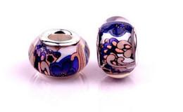 Adatto a bracciali Pandora Blue Pattern in vetro di Murano Perline grande foro Branelli allentati Charms Per gioielli fai-da-te all'ingrosso europeo collana di gioielli da grandi branelli di vetro all'ingrosso fornitori