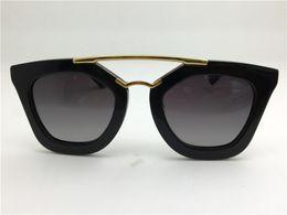 Wholesale Gold Lens Mirror Sunglasses - New spr sunglasses 09Q cinema sunglasses coating mirror lens polarized lens vintage retro style square frame gold middle women designer