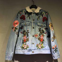 Wholesale Men S Jean Coat Jacket - 2016 winter fashion brand New men women's coat jacket Unique style Embroidery flower butterfly bee Cowboy jean jacket long sleeve