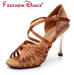 Wholesale Ballroom Dance Shoes Gold - Sneakers Sports Shoes Silk Satin Upper Rhinestones Latin Dance Shoes woman Ballroom Shoe Sandals Gold Heel Girls Zapatos De Baile Latin Shoe
