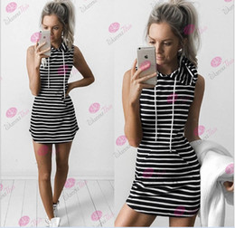 Wholesale Hooded Vest Dress - 2016 Women Hot Sale Fashion Black And White Stripe Sleeveless Vest Dresses Ladies Hooded Casual Dress Women's Summer Dress