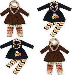 Wholesale Long Cotton Bibs - New Baby girls Halloween outfits kids pumpkin print top+pants+Bib 3pcs set children cotton suits C2474
