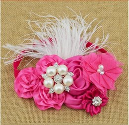 Wholesale Tulle Rosettes Wholesale - 15% off! 8 colors 8pcs  satin rosettes flower Headband tulle Flower rhinestone feather Headband Infant Baby Girls Children hair accessories