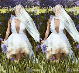 Wholesale Same Deep Wave - Backless 2017 Cristina Savulescu Deep V-neck A-line Tiers Organza Bridal Dresses Summer Sexy Hi-Lo Wedding Gowns