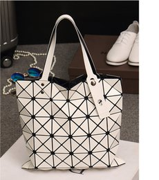 Wholesale Plum Clutch Bags - 4styles newest womens ladies red 6*6 BAO BAO issey Totes Triangular Lattice LUCENT BASICS TOTE BAG quilted handbag Clutch Free shipping