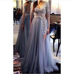 Wholesale Detach Dress - 2016 Elegant Backless Detach Prom Dress with Sash Long Sleeve V-Neck Prom Gowns Bling Beaded Crystal Vestido De Festa Curto
