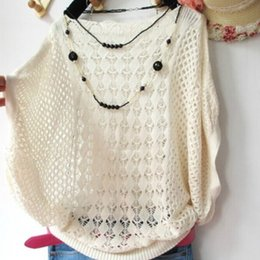 Wholesale Korean Batwing Fashion - 2017 Spring summer New Hot Korean fashion Women Loose Batwing sleeve sweater jumper Lady Hollow knitted sweaters female knitwear