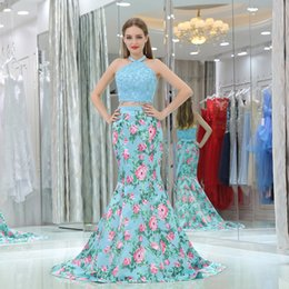 Wholesale Vintage Girls Dress Patterns - 2017 Real Picture 2 Pieces Dresses Evening Halter Sleeveless Sexy Backless Pattern Floor Length Black Girl African Prom Party Dress